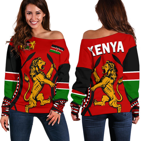 Kenya Lion Off Shoulder Sweater Maasai Shield front and back | Clothing | Love Kenya