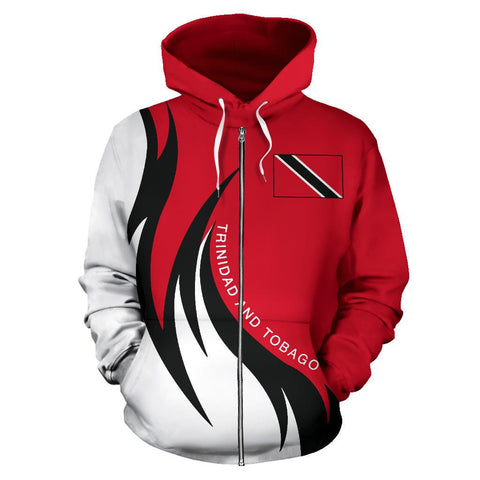 Image of Trinidad and Tobago Hoodie (Zip) Coat Of Arms Fire Style