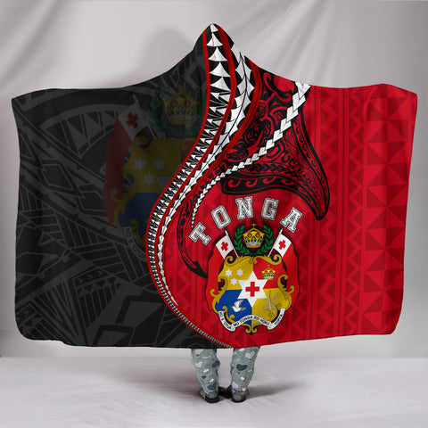 Image of Tonga Hooded Blanket Kanaloa Tatau Gen TO (Black)