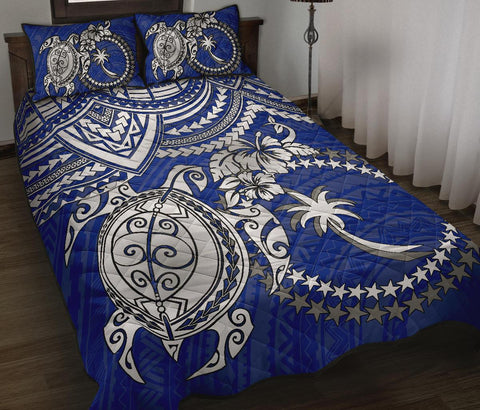 Chuuk Polynesian Quilt Bed Set - White Turtle (Blue)
