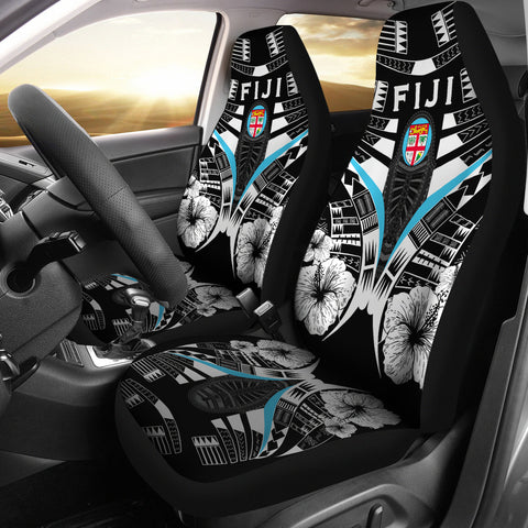 Fiji Tattoo Car Seat Covers Hibiscus - Black White Color 1