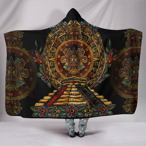 Mexico Hooded Blanket Aztec Sun Stone Tattoo A7