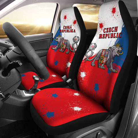 Image of Coat of Arms Czech Republic Lion Car Seat Covers K4