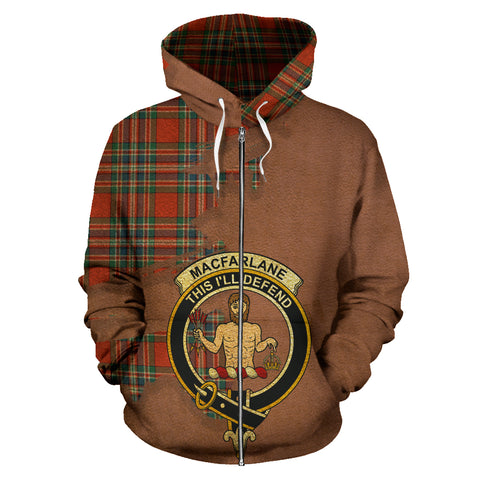 MacFarlane Ancient  Royal All Over Hoodie (Zip)