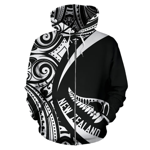 New Zealand Maori Pattern Zip-up Hoodie - Circle Style