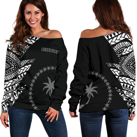 Chuuk Pattern Women's Off Shoulder Sweater - Black Style - FSM - BN912