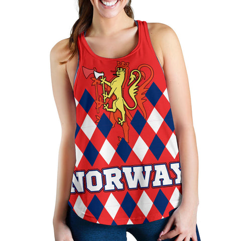 Norway Women's Racerback Tank - Norway Lion with Flag Color - BN18