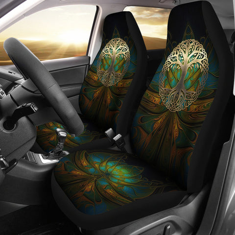 Image of Celtic Car Seat Covers - Luxury Golden Celtic Tree | HOT Sale