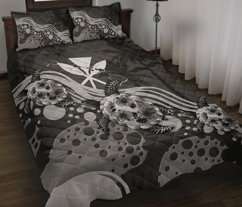Hawaii Quilt Bed Set - Gray Turtle Hibiscus A24