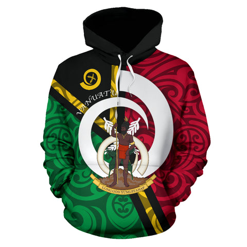 Vanuatu Flag Design All Over Hoodie - Green Red Color - Front