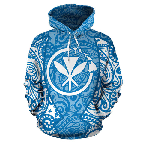 Image of Hawaii Hoodie Polynesian Kanaka Blue