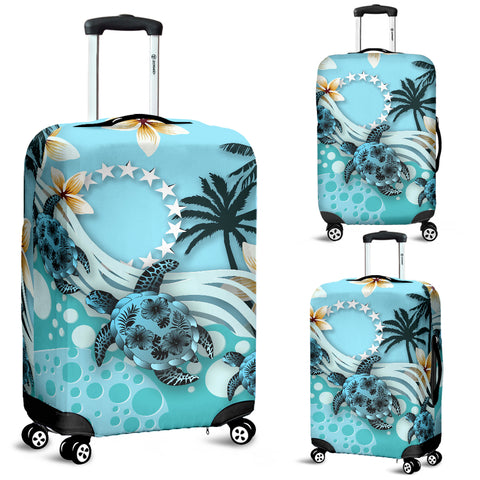 Cook Islands Luggage Covers - Blue Turtle Hibiscus | Love The World