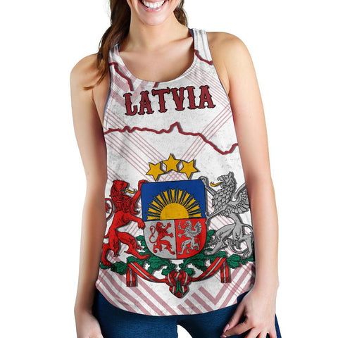 Image of Latvia Women Tank Top K5 | 1sttheworld.com
