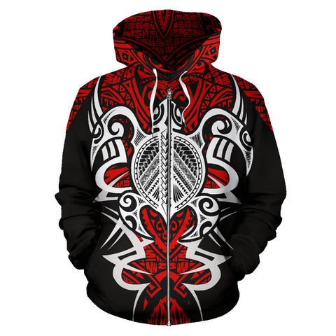Tonga Turtle Polynesian Red Zip Up Hoodie - Armor Style