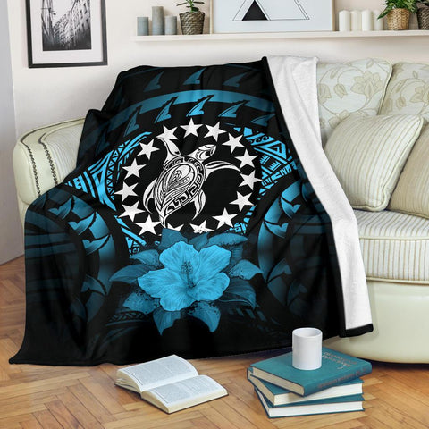 Cook Islands Premium Blanket - Turquoise Hibiscus | 1sttheworld