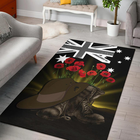 1stTheWorld Australia Anzac Day Area Rug - Lest We Forget Hat And Boot Poppies