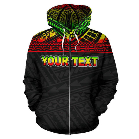 Poly All Over Zip-Up Hoodie - Polynesian Reggae Custom Version - BN09
