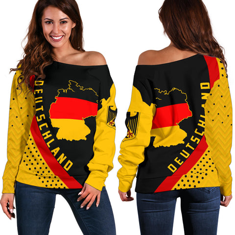 Germany Map Generation II Off Shoulder Sweater K6 - Black and Yellow - Front and Back - for Women