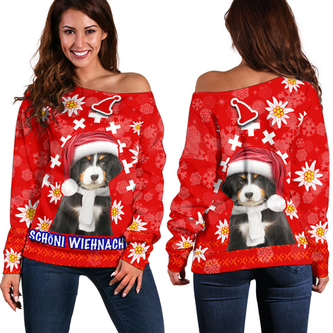 Image of Christmas Edelweiss Switzerland Off Shoulder Sweater Bernese Mountain Dog | 1sttheworld