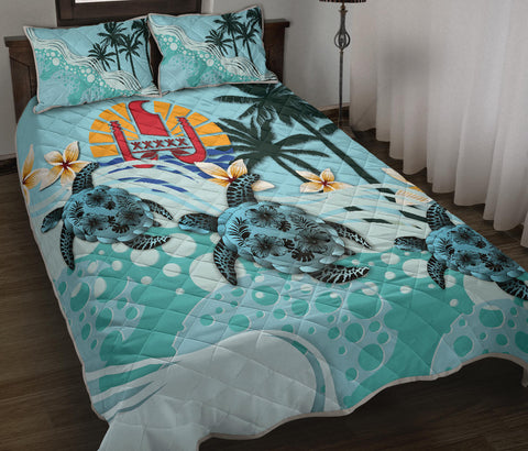 Tahiti Quilt Bet Set - Blue Turtle Hibiscus | Love The World