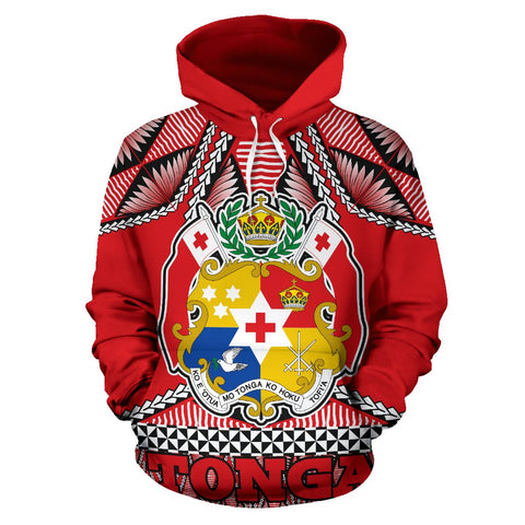 Tonga Polynesian All Over Hoodie - Coat of Arms - BN12