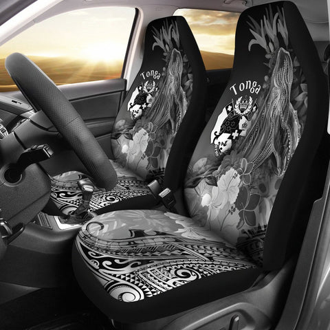 Tonga Car Seat Covers - Humpback Whale with Tropical Flowers (White)
