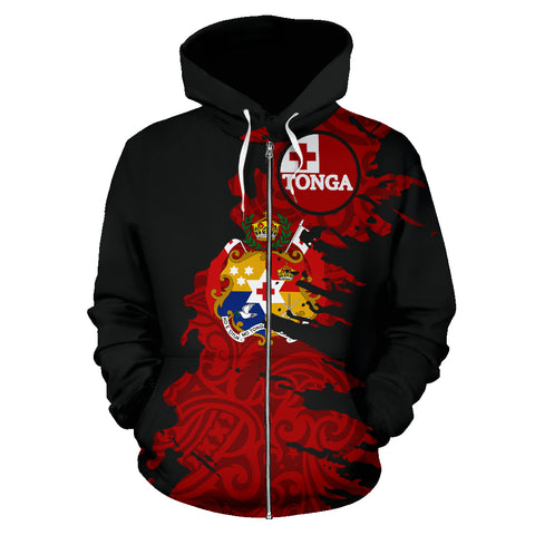 Tonga Hoodie Painting Polynesian Zip Up