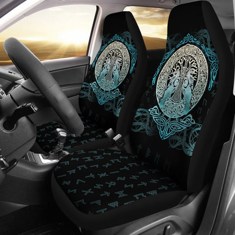 Image of Viking Car Seat Covers Yggdrasil and Ravens A7