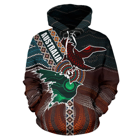 Image of Australia Aboriginal Crow Hoodie - Art Color - Front