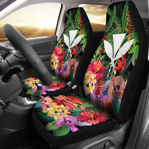 Image of Kanaka Maoli (Hawaiian) Car Seat Covers - Coat Of Arms Tropical Flowers And Banana Leaves | Love The World