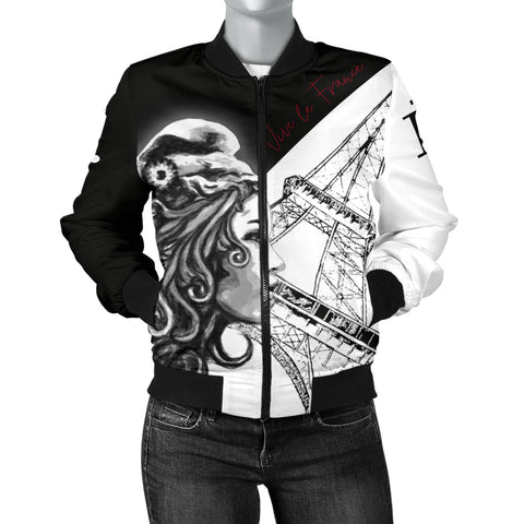 France National Day Women's Bomber Jacket - Vive la France - Marianne Eiffel