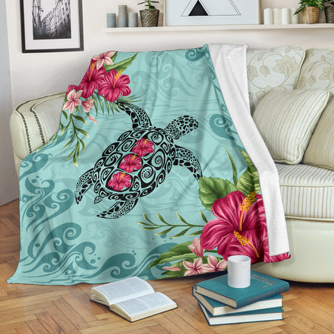Image of Hawaiian Hibiscus And Turtle Premium Blanket |Home Set | 1sttheworld