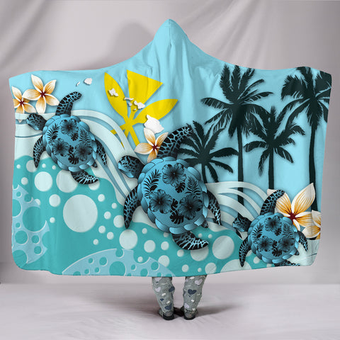Image of Hawaii Hooded Blanket - Blue Turtle Hibiscus A24
