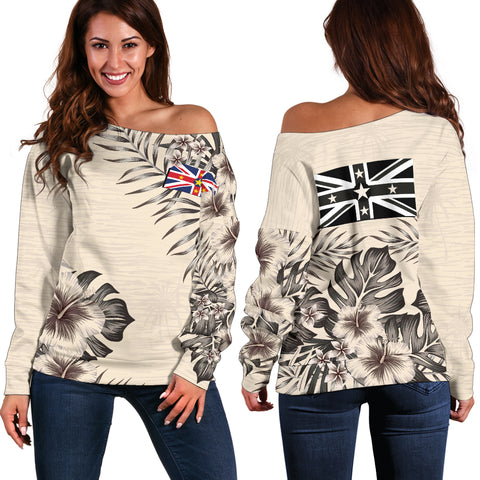 Niue The Beige Hibiscus Off Shoulder Sweater A7