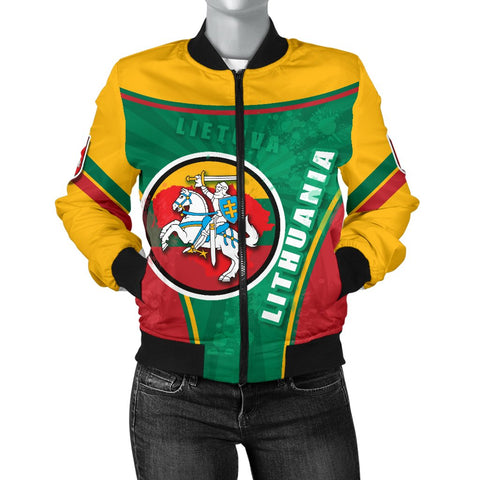 Lithuania - Lietuva Women Bomber Jacket Circle Stripes Flag Proud Version Front | 1sttheworld