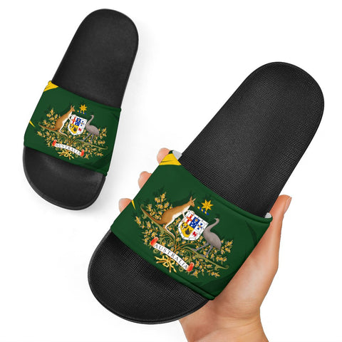 Image of 1stTheWorld Australia Slide Sandals, Australia Coat Of Arms Green A10