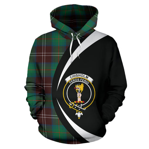 (Custom your text) Chisholm Hunting Ancient Tartan Circle Hoodie