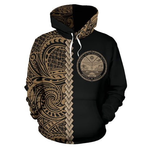 Marshall Islands Hoodie Polynesia - Half Style (Gold) TH5