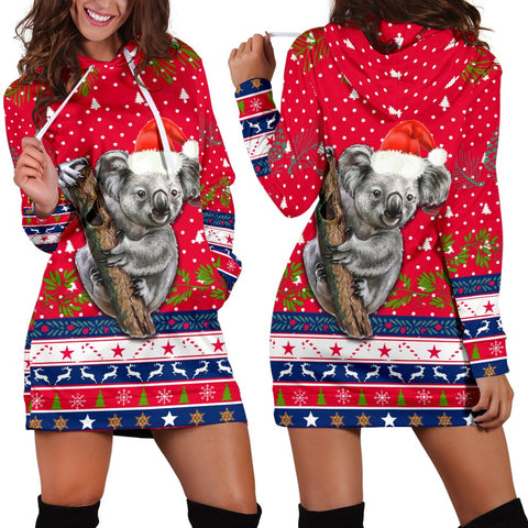 Australia Christmas Aboriginal Women Hoodie Dress Koala Version | 1sttheworld