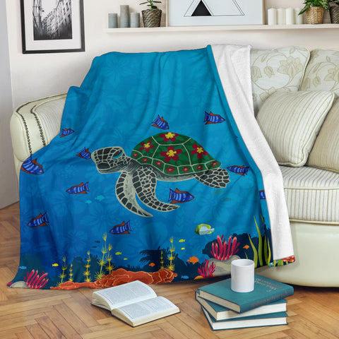 Hawaii Ocean Turtle Premium Blanket