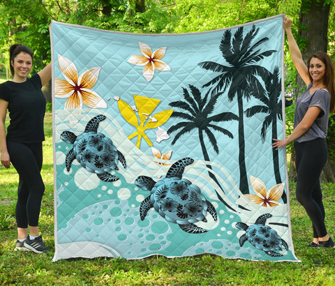Image of Hawaii Premium Quilt - Blue Turtle Hibiscus | Love The World