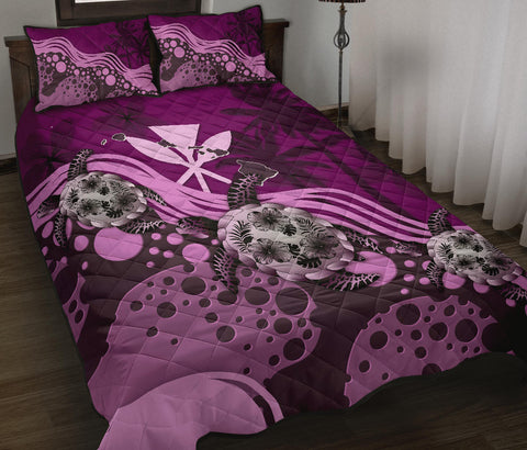 Image of Hawaii Quilt Bed Set - Dark Pink Turtle Hibiscus A24