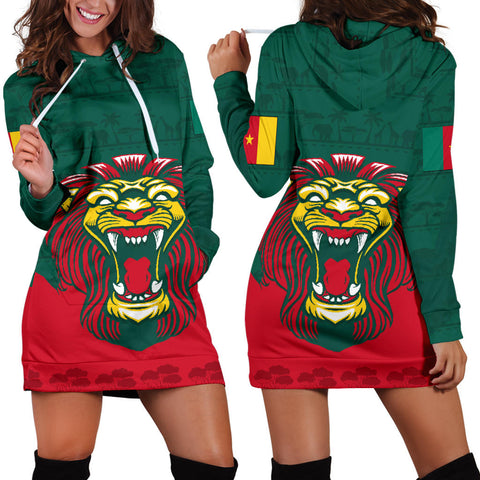 Cameroon Hoodie Dress Lion front and back