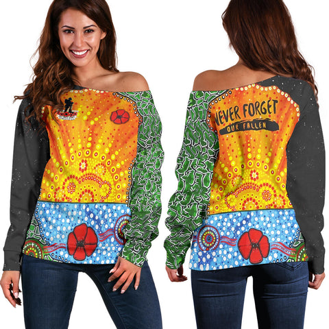 Aboriginal Australian Anzac Day Off Shoulder Sweater - Lest We Forget Poppy