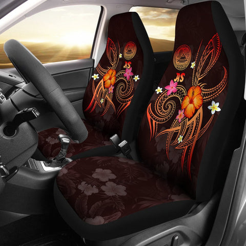 Image of American Samoa Polynesian Car Seat Covers - Legend of American Samoa (Red)