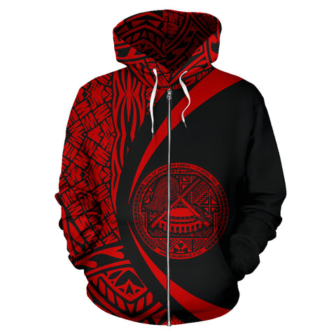 Image of American Samoa Polynesian Zip-up Hoodie - Circle Style
