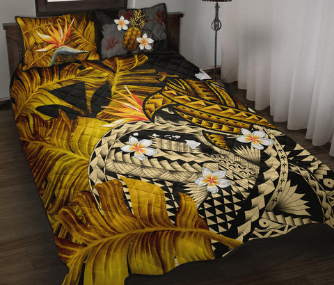 Image of Kanaka Maoli (Hawaiian) Quilt Bed Set, Polynesian Pineapple Banana Leaves Turtle Tattoo Yellow A02