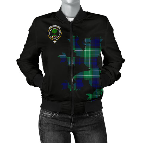 Abercrombie (or Abercromby) Tartan Lion And Thistle Bomber Jacket for Women