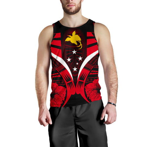 Papua New Guinea Tattoo Men Tank Top Hibiscus - Red Color 1