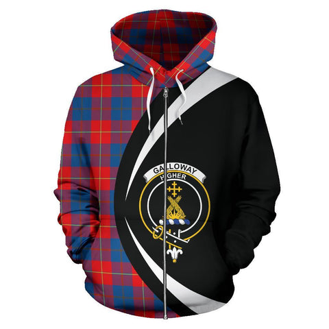 Galloway Red Tartan Circle Zip Hoodie